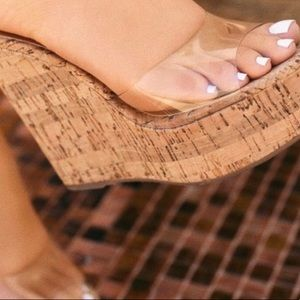 Bamboo Clear Vamp Wedges